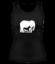 Женская майка борцовка Слон-лошадь