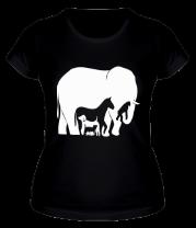 Женская футболка  Слон-лошадь