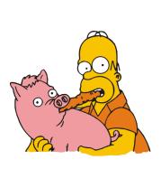 Детская футболка  Гомер и свинья