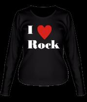 Женская футболка с длинным рукавом Я люблю рок