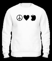 Толстовка без капюшона Peace Love Apple