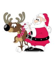 Женская футболка  Дед Мороз с оленем