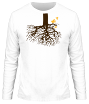 Мужская футболка с длинным рукавом Корни дерева и птички