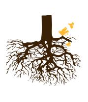 Женская футболка с длинным рукавом Корни дерева и птички