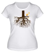 Женская футболка  Корни дерева и птички