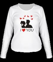 Женская футболка с длинным рукавом I love you