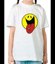 Детская футболка  Смайл с пирсингом