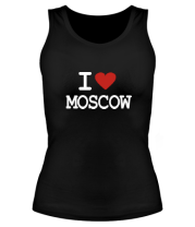 Женская майка борцовка I love Moscow