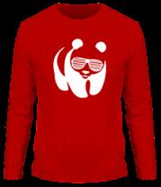 Мужская футболка с длинным рукавом Панда в очках жалюзи