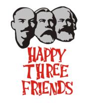 Мужская футболка с длинным рукавом Happy Three Friends - Ленин Маркс и Энгельс
