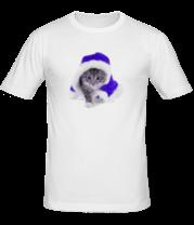 Мужская футболка  Новогодняя кошечка