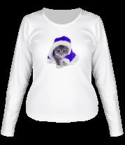 Женская футболка с длинным рукавом Новогодняя кошечка