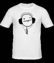 Мужская футболка  Poker Face в наушниках