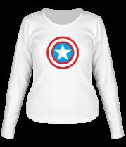 Женская футболка с длинным рукавом Щит Капитана Америка