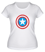 Женская футболка  Щит Капитана Америка