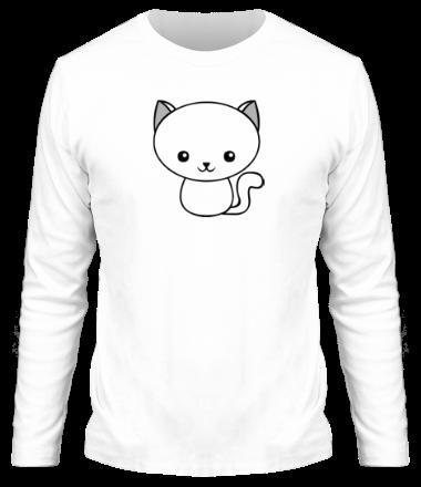Мужская футболка с длинным рукавом Милый котенок