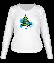 Женская футболка с длинным рукавом Новгодняя ёлка