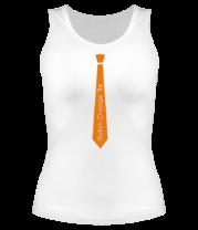Женская майка борцовка Стильный оранжевый галстук