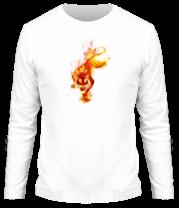 Мужская футболка с длинным рукавом Тигр в огне
