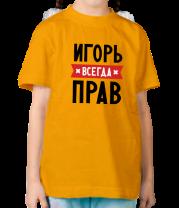 Детская футболка  Игорь всегда прав