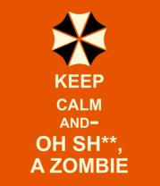 Мужская футболка  Keep calm and oh sh**, a zombie