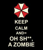 Женская майка борцовка Keep calm and oh sh**, a zombie