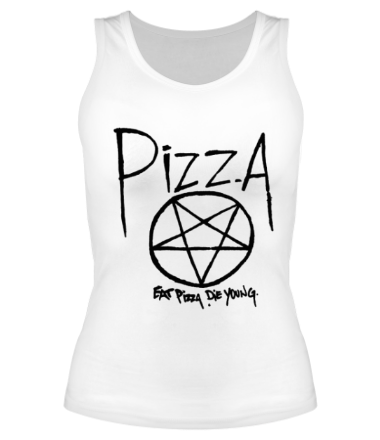 Женская майка борцовка Eat pizza, die young!