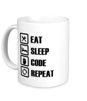 Кружка Eat, sleep, code, repeat