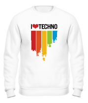 Толстовка без капюшона I love techno